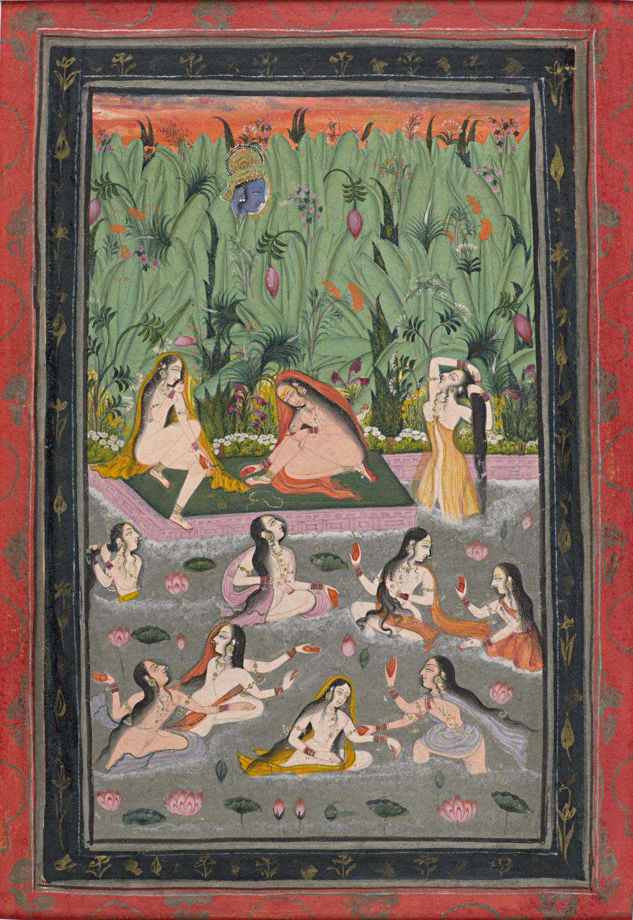 Krishna spying on the gopis bathing