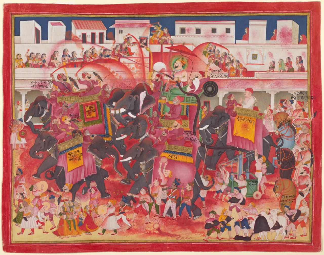 Maharao Ram Singh II of Kotah and companions playing Holi on elephants in a street