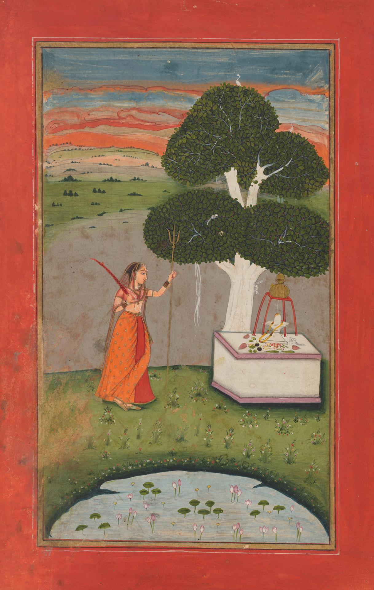 Parvati at a Shiva shrine