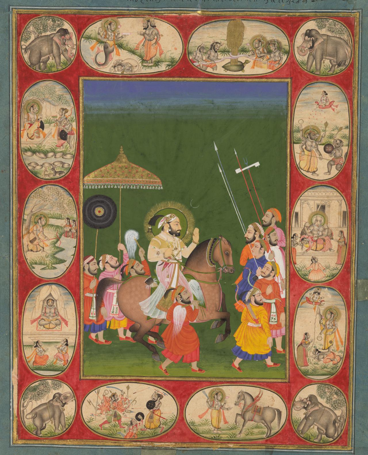 Maharana Sangram Singh II riding and A foppish Dutchman