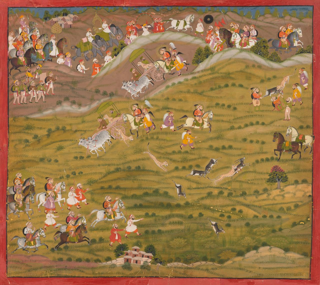 Maharana Sangram Singh II hunting blackbuck with cheetah at Nahar Magra