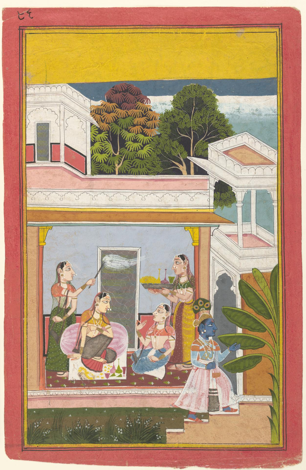 The sakhi converses with Radha in a chamber