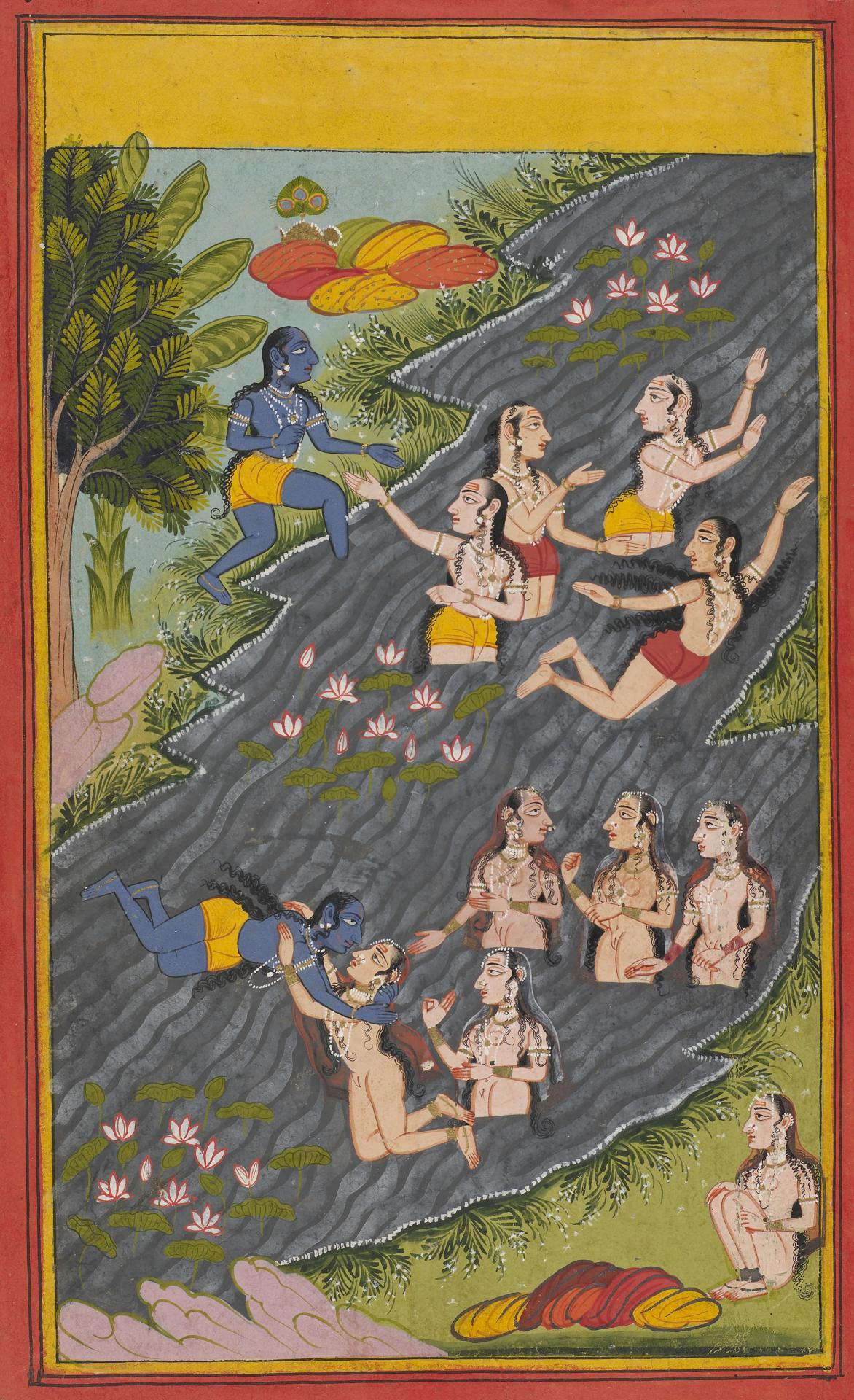 Krishna enters the river Jumna