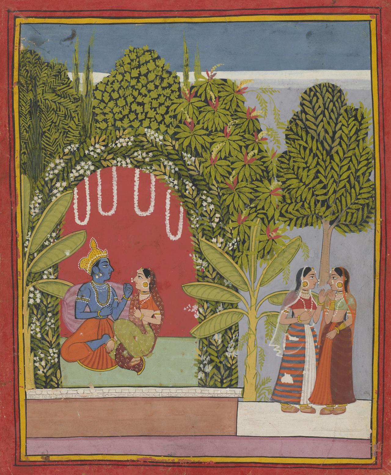 Krishna and Radha in a bower