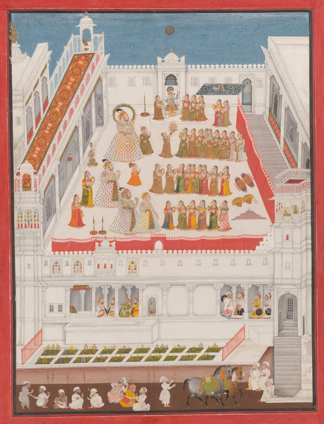 Maharana Jagat Singh II attending the invocation before a Raslila performance