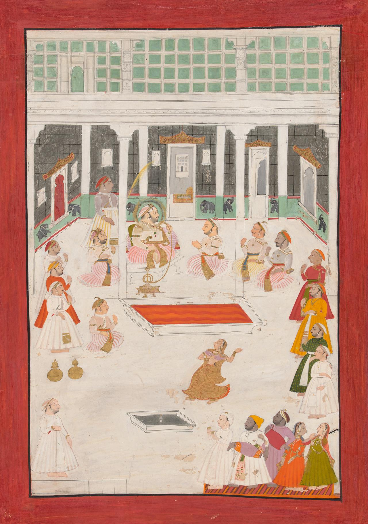 Maharana Jagat Singh II and his sardars watching a nautch