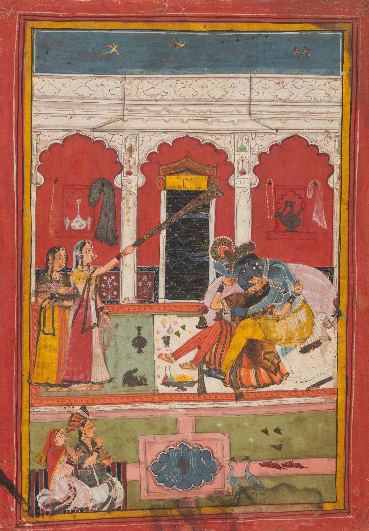 Radha and Krishna embracing in a palace