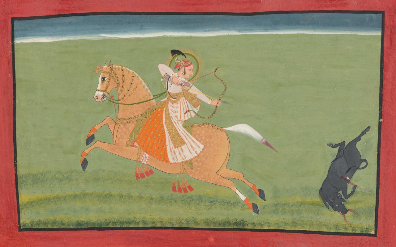 Maharana Ari Singh III killing a buffalo with an arrow