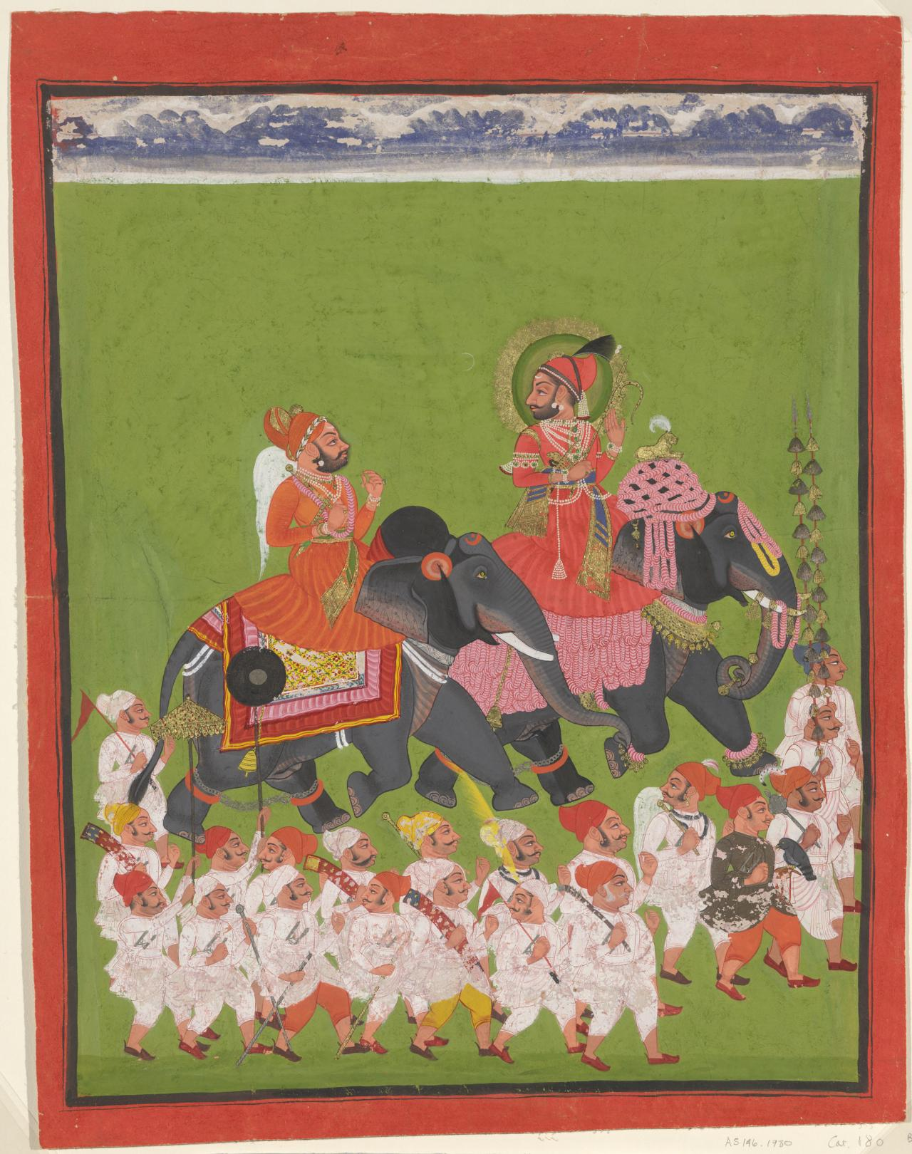 Maharana Ari Singh II and Rapaji riding elephants