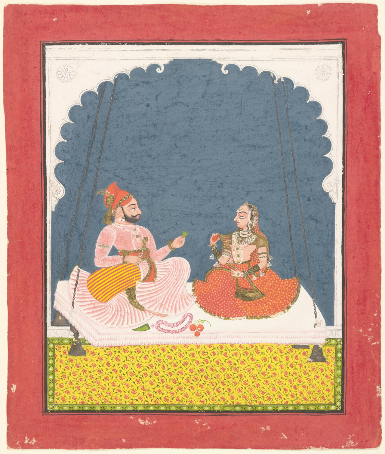 Maharana Bhim Singh and a lady