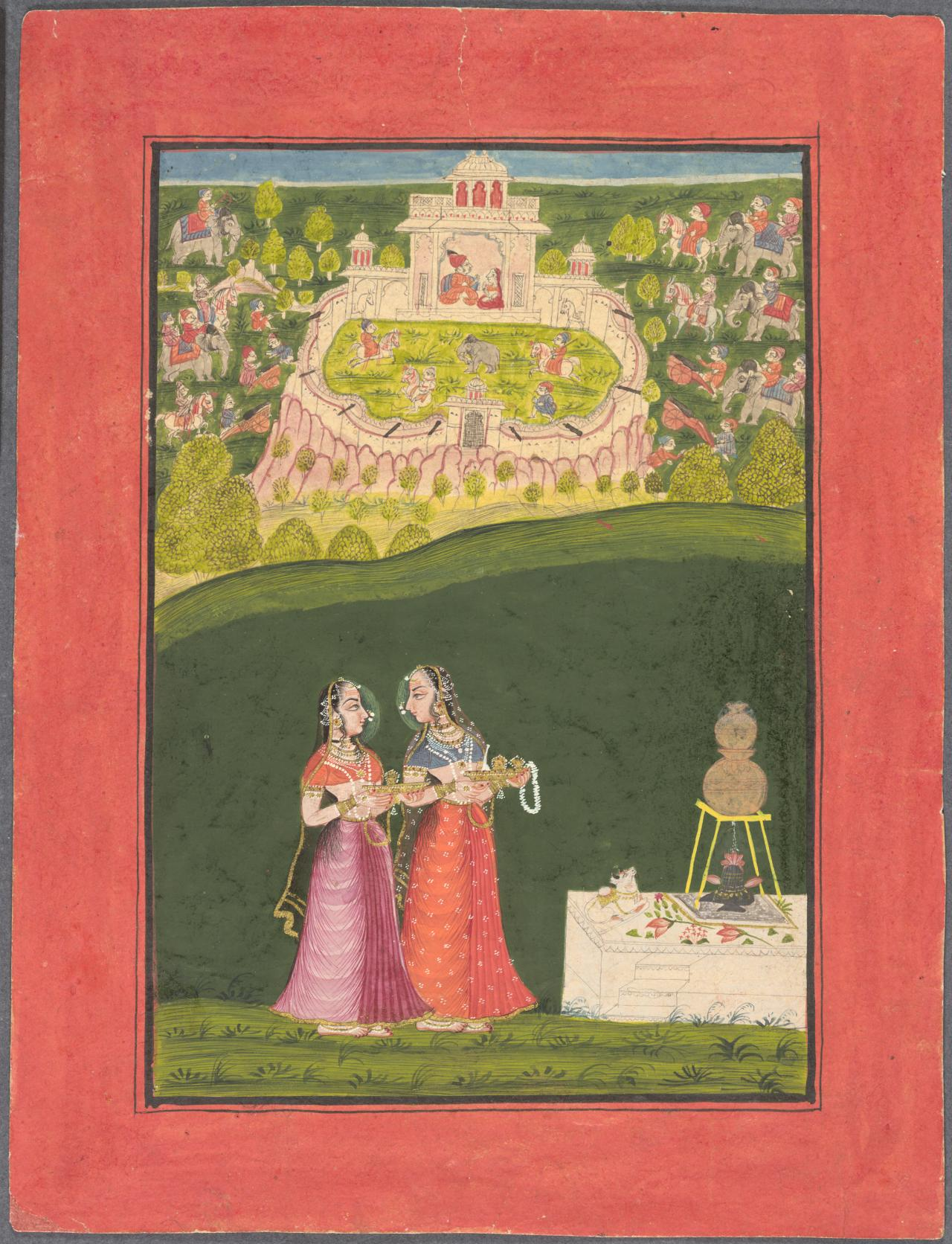 Two ladies at a Shiva shrine