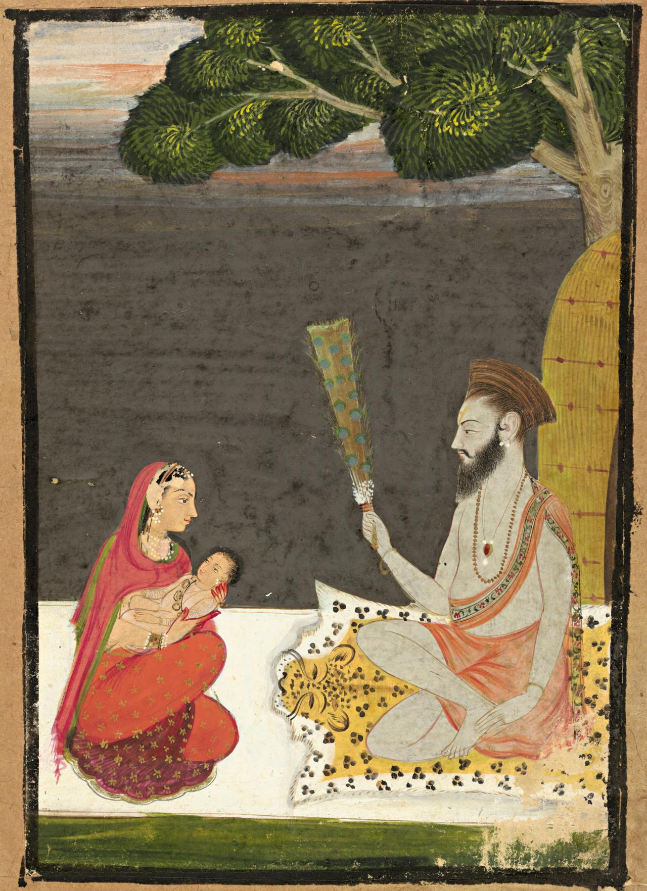 Mother and child visiting a yogi