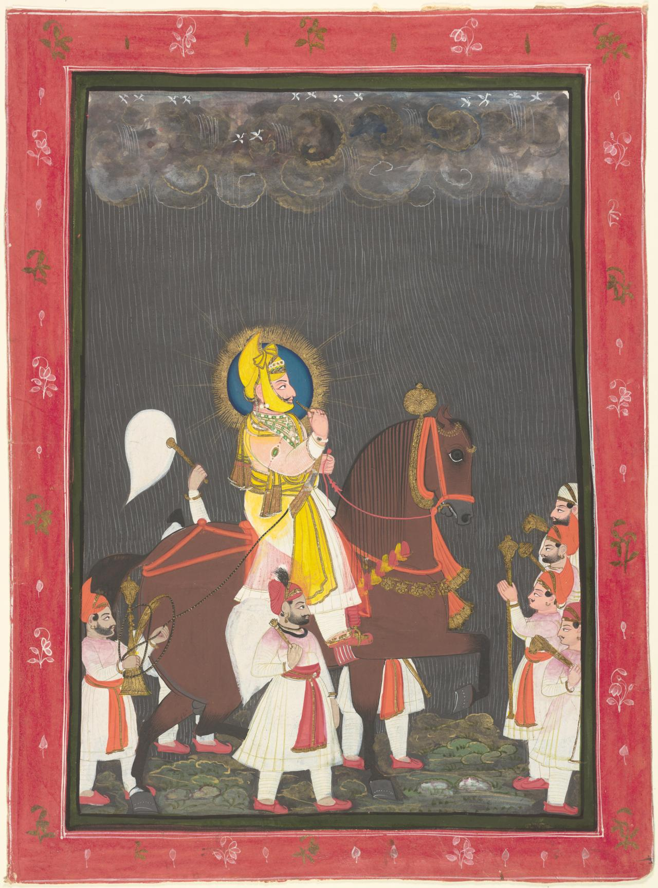 Maharana Jawan Singh riding in the rain