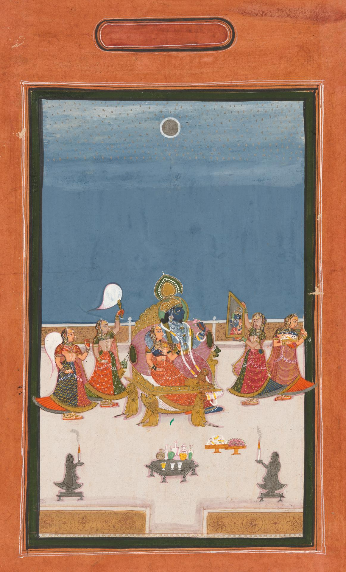 Krishna and Radha looking in a mirror