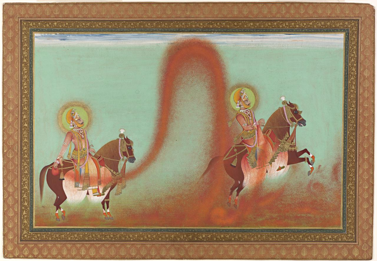 Maharana Sarup Singh playing Holi on horseback