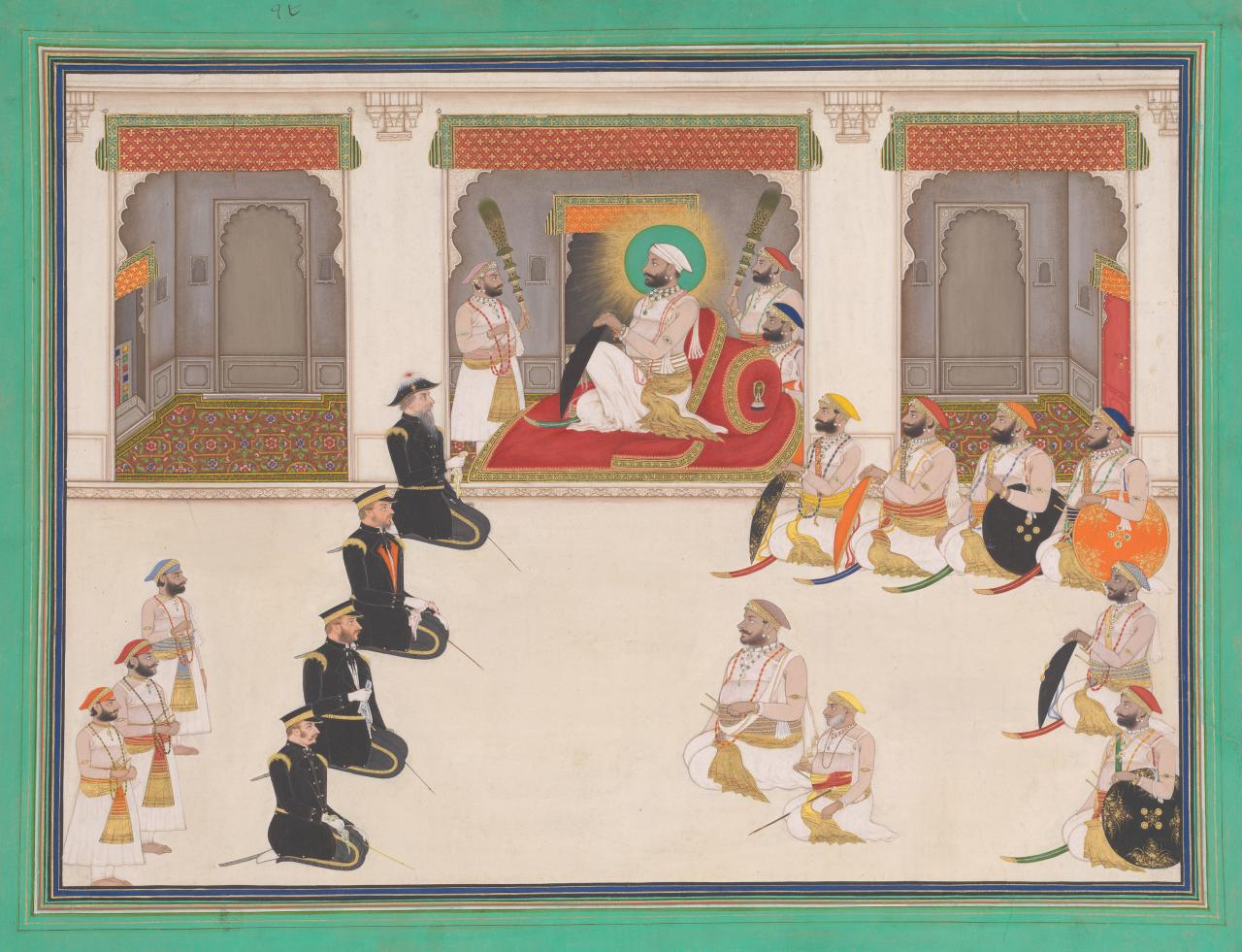 Maharana Sarup Singh receiving Sir Henry Lawrence in durbar