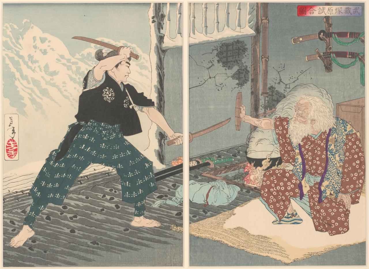 The duel between Miyamoto Musashi and Tsukahara Bokuden