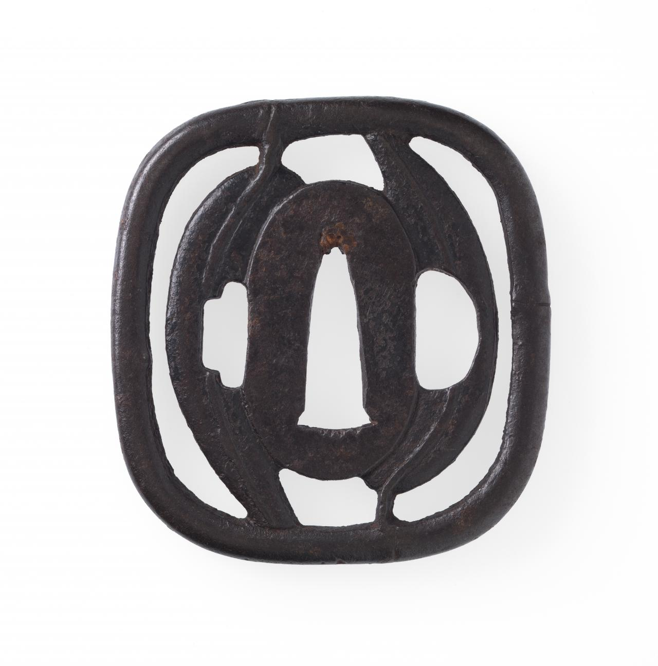 Sword guard with bamboo grass design