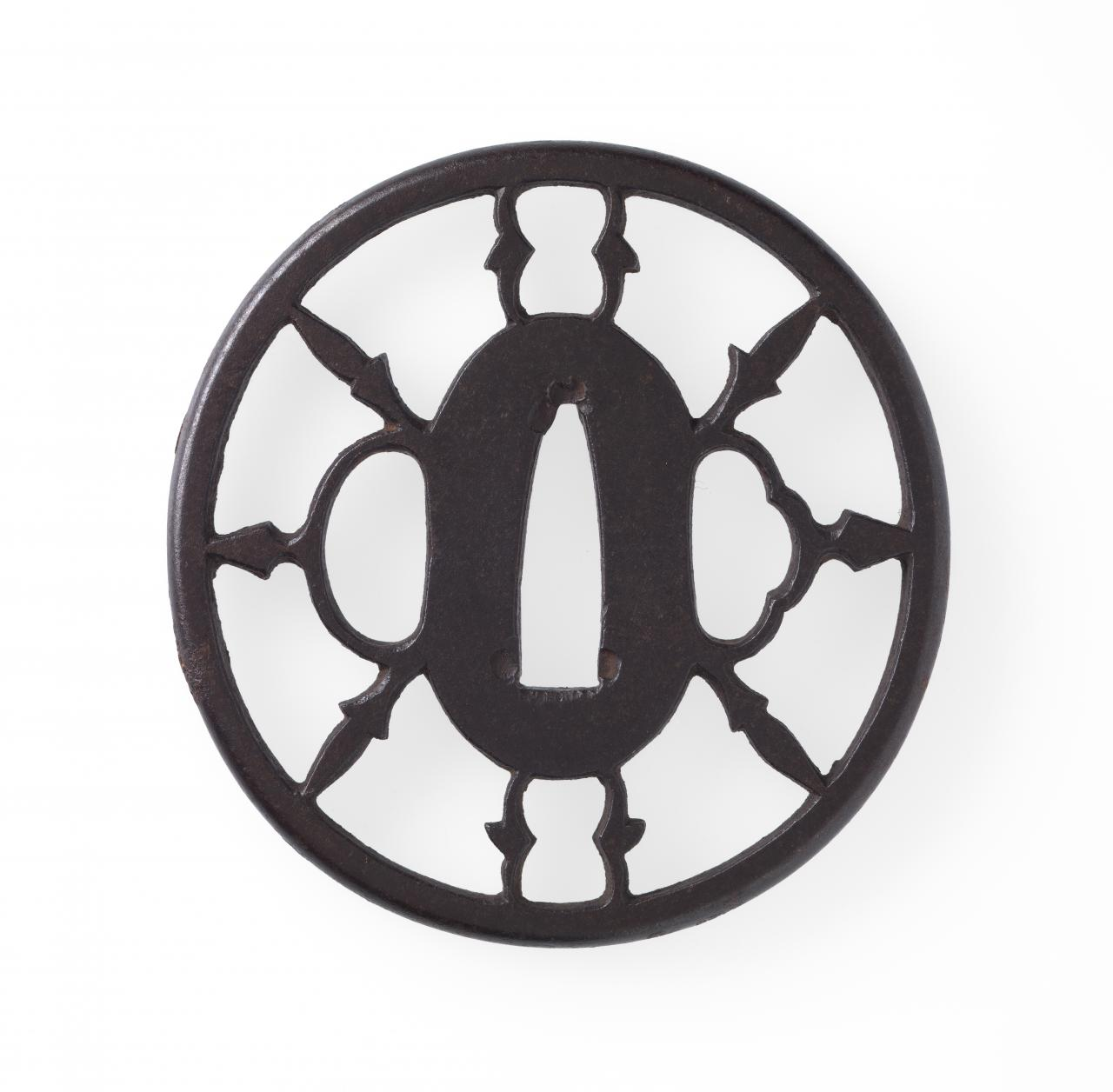 Sword guard with flying plover and geometric design