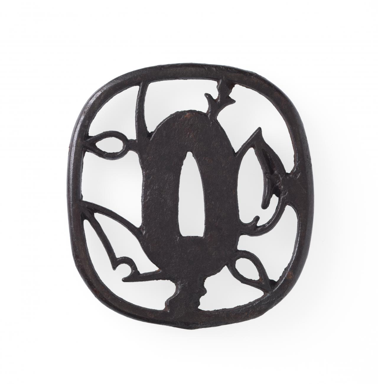 Sword guard with stylised peach tree design