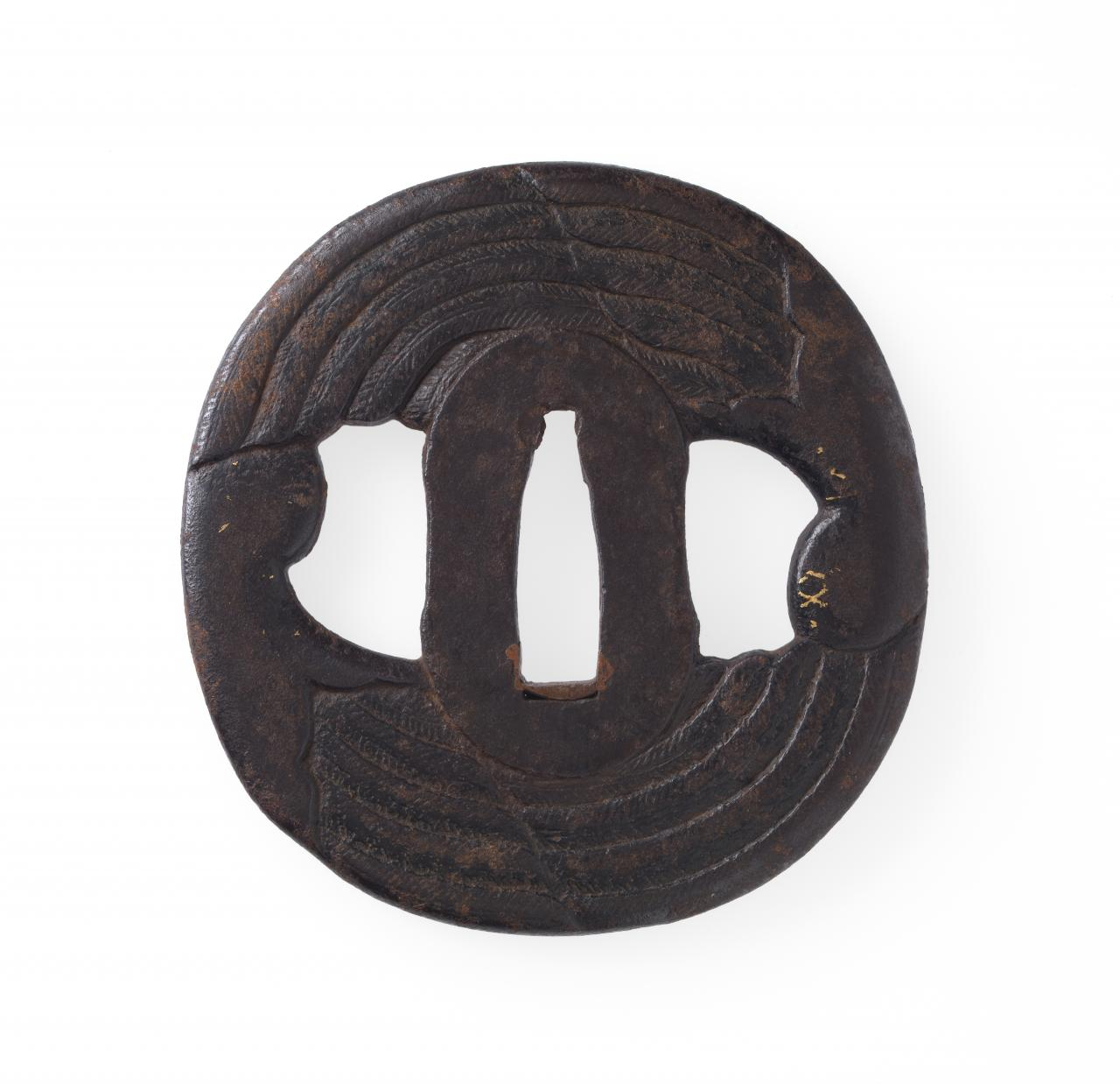 Sword guard with split feathered fan design
