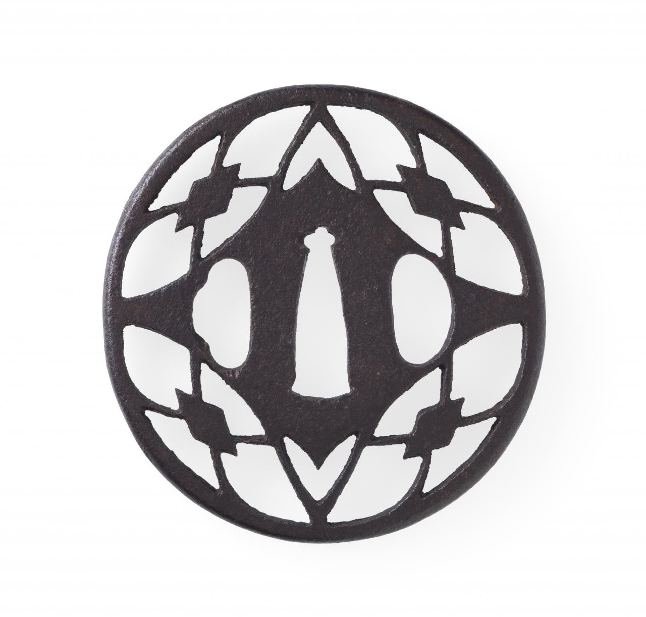 Sword guard with quadruple water chestnut crest design