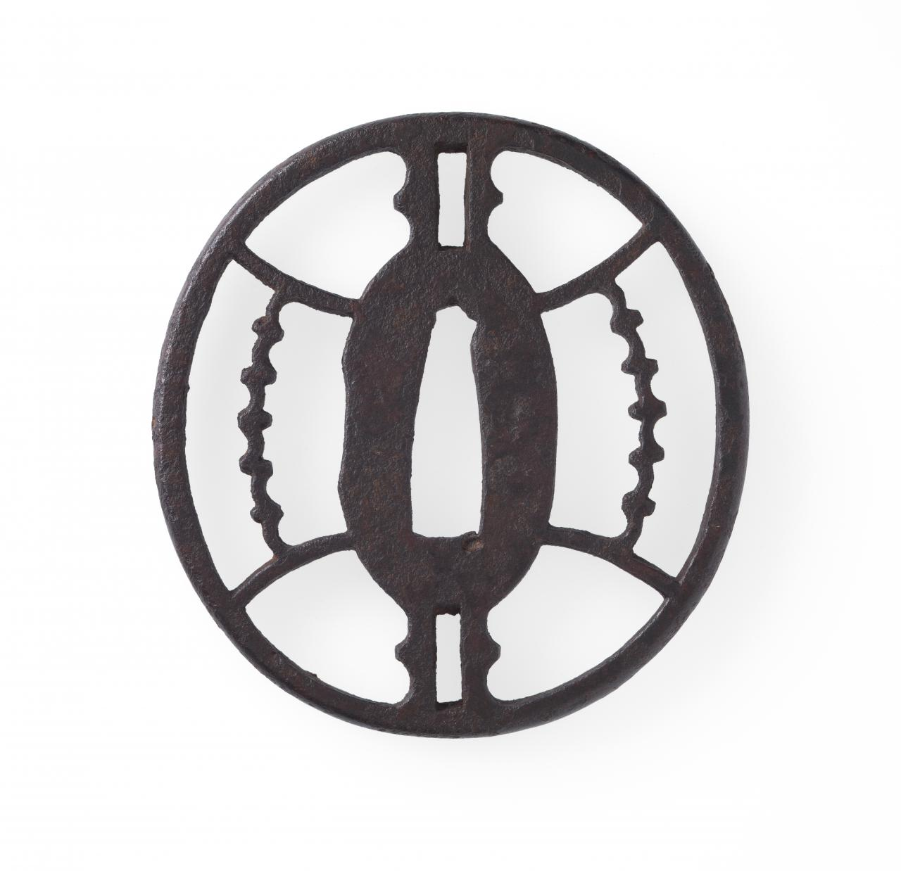 Sword guard with geometric design