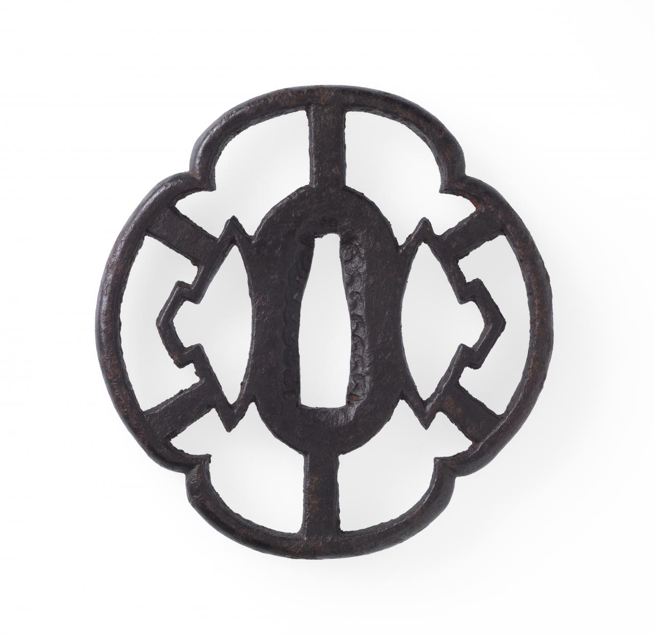 Sword guard with water chestnut crest design