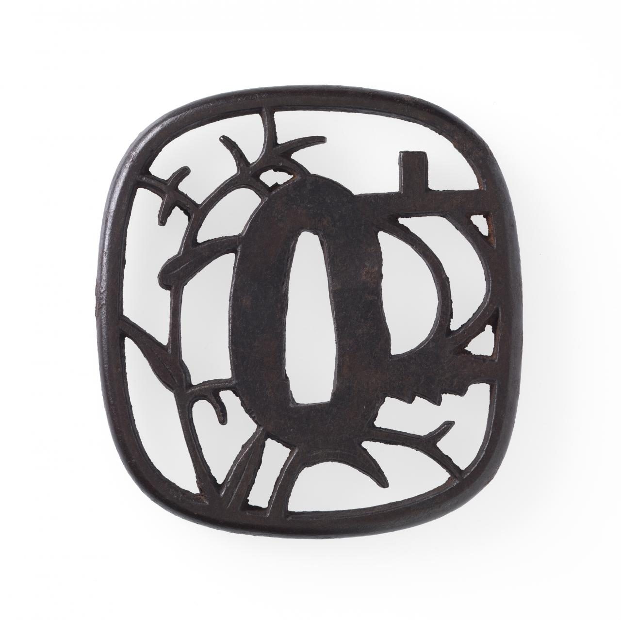 Sword guard with river boat sail design