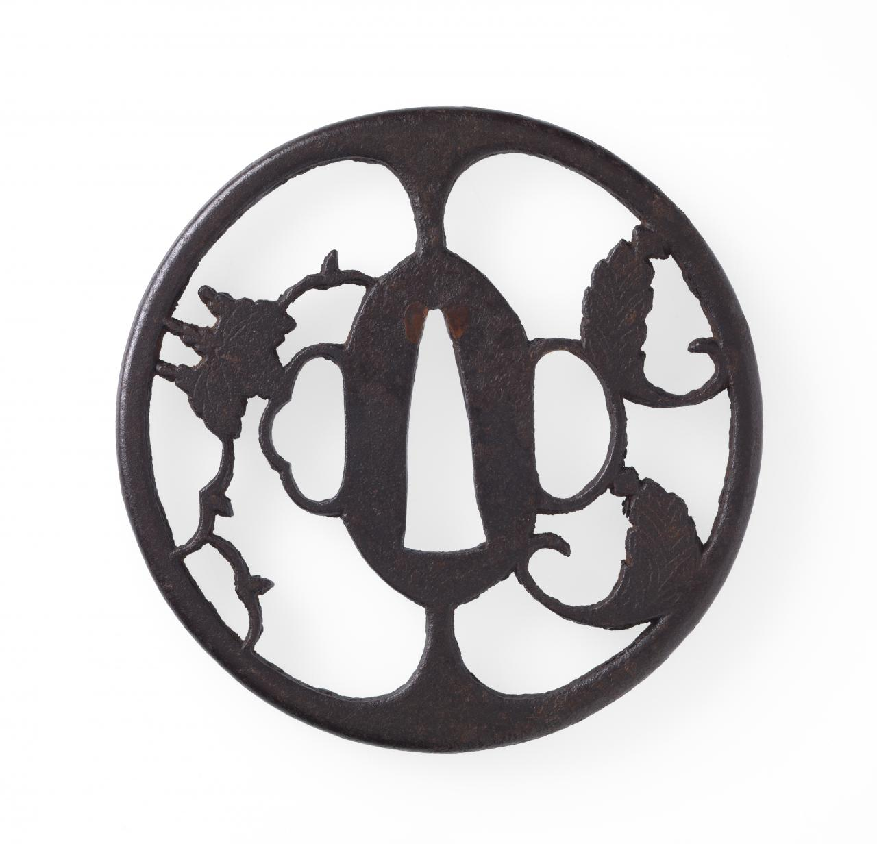 Sword guard with paulownia design