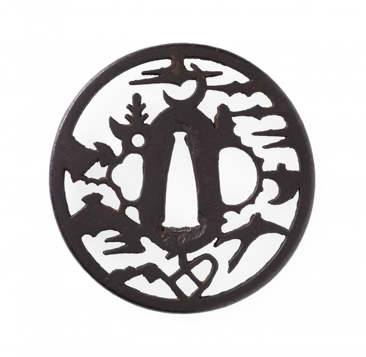 Sword guard with crescent moon and crane in landscape design