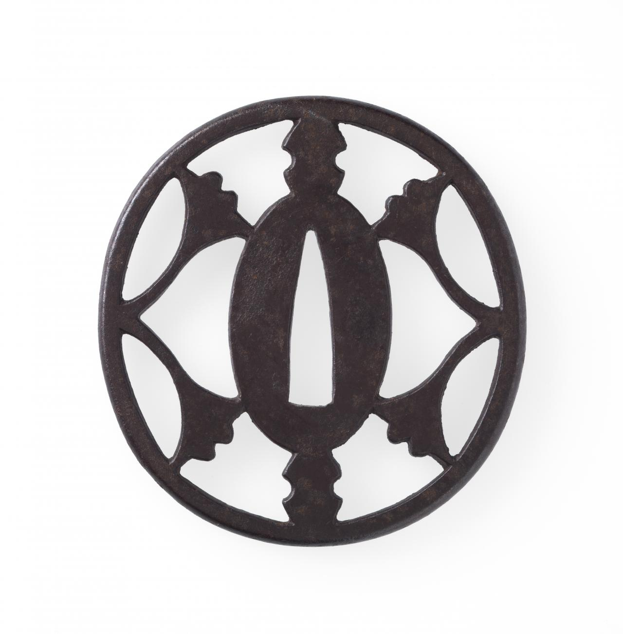 Sword guard with ginko leaf and weight design