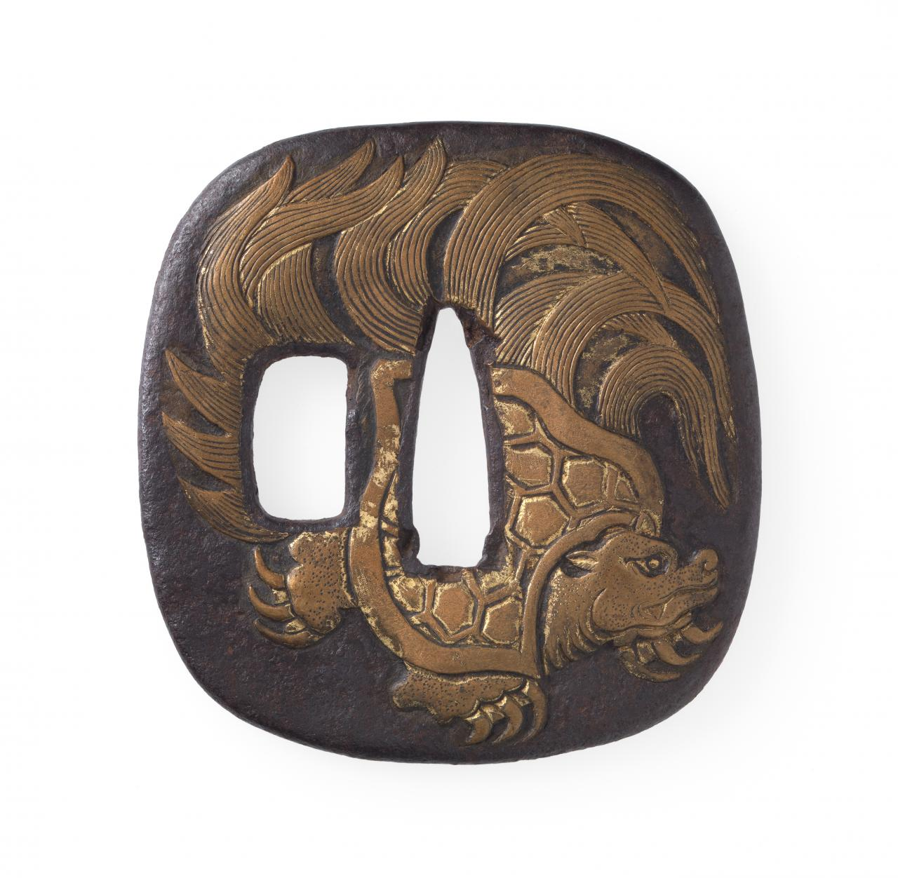 Sword guard with ancient tortoise design
