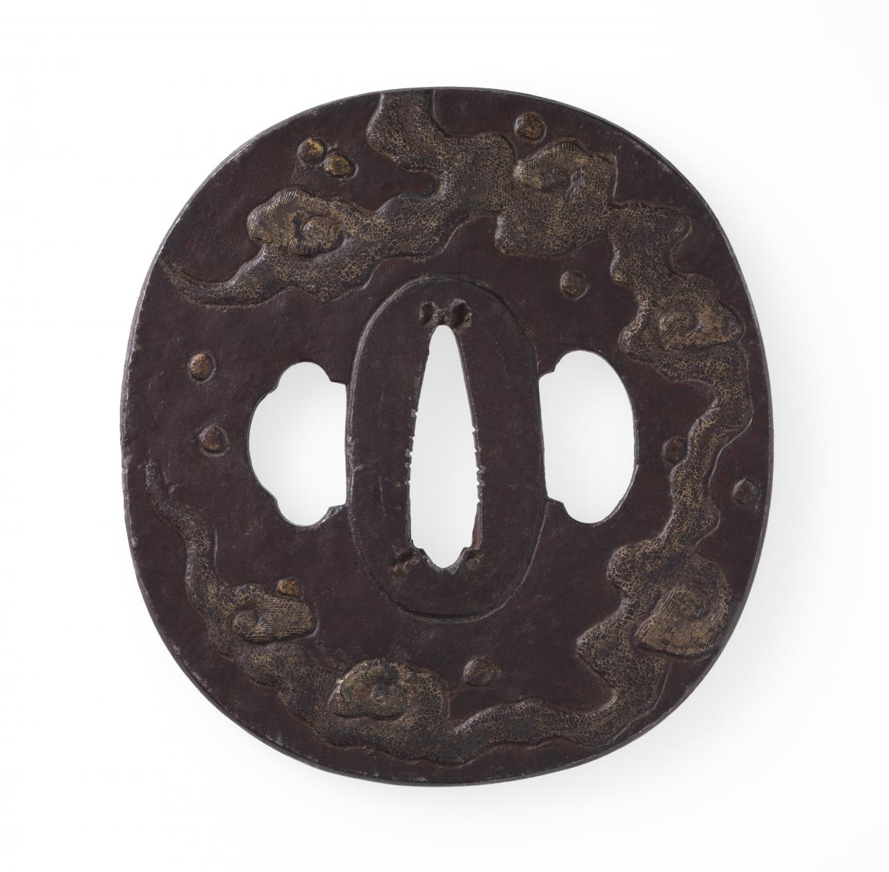 Sword guard with splashing water and dragon cloud design