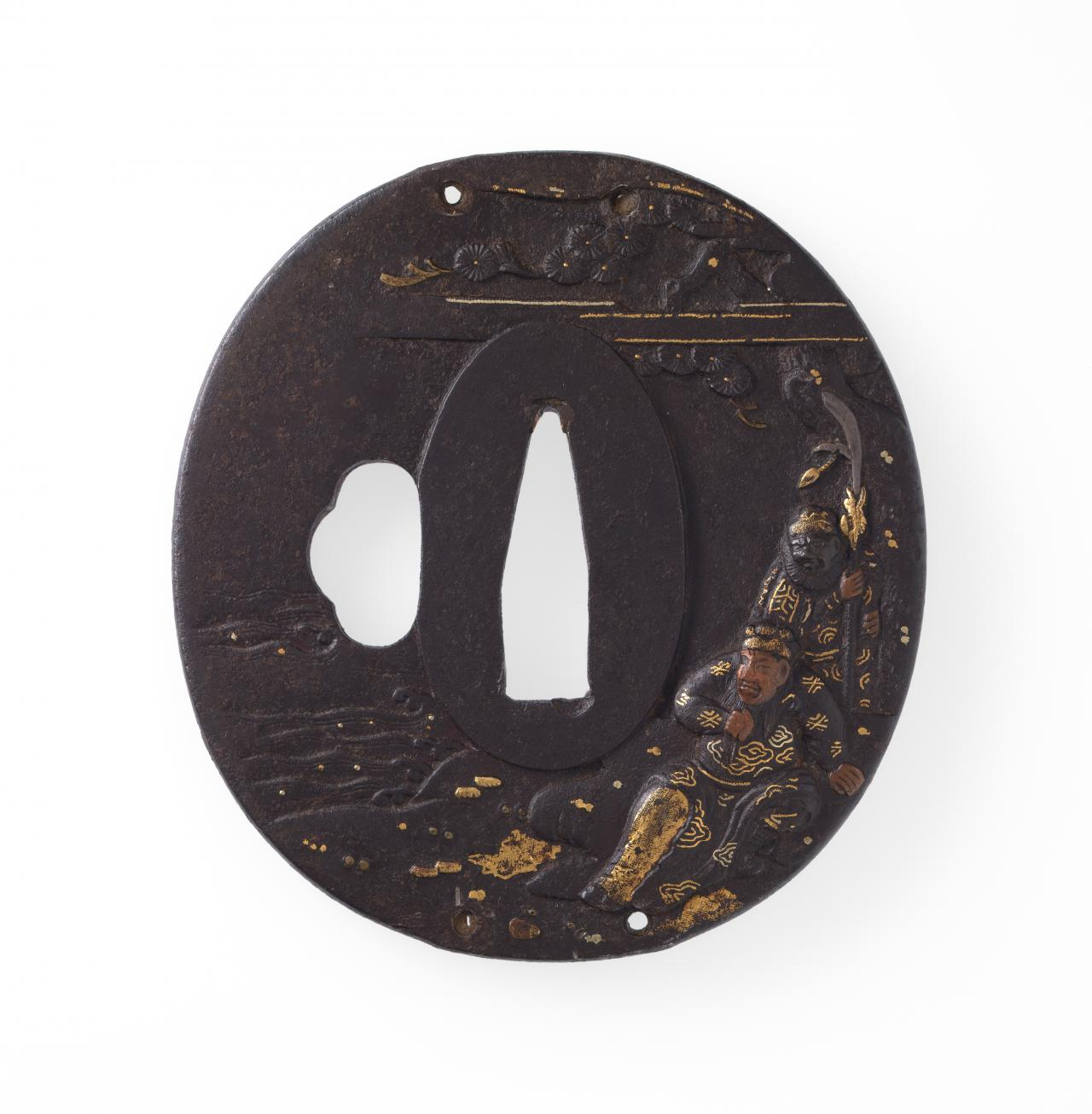 Sword guard with two warriors in landscape design