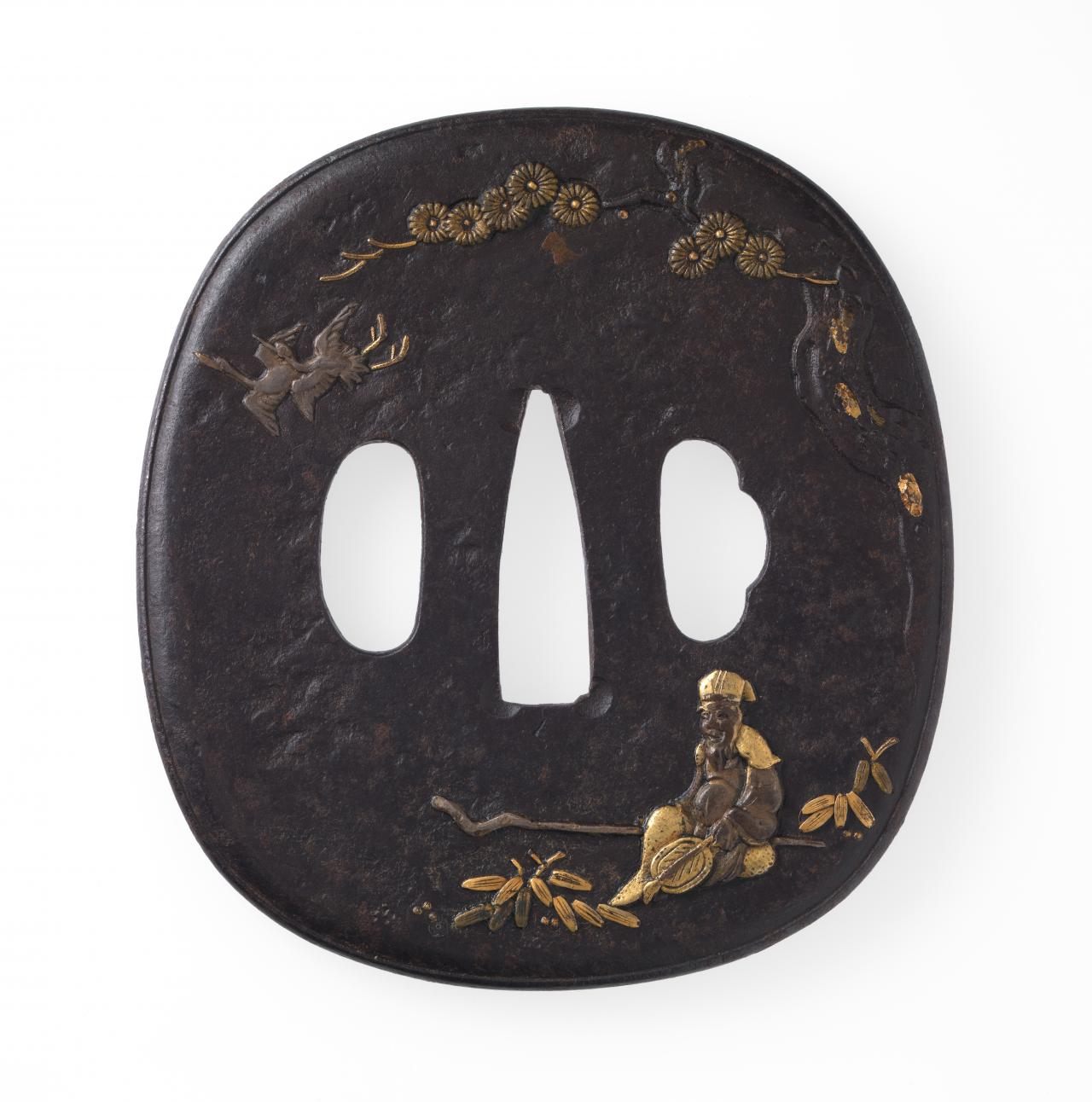 Sword guard with sitting immortal and flying cranes design