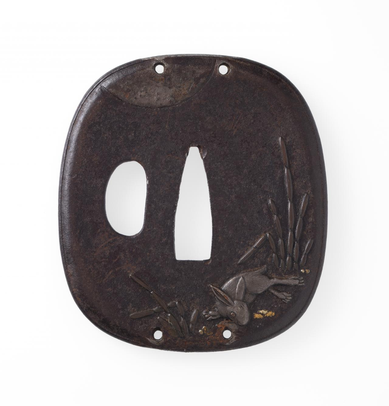 Sword guard with rabbit, scouring rush and full moon design