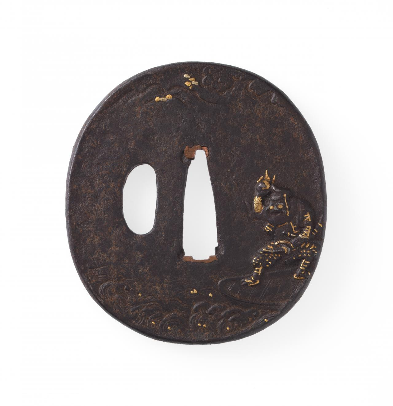Sword guard with warrior on a boat design