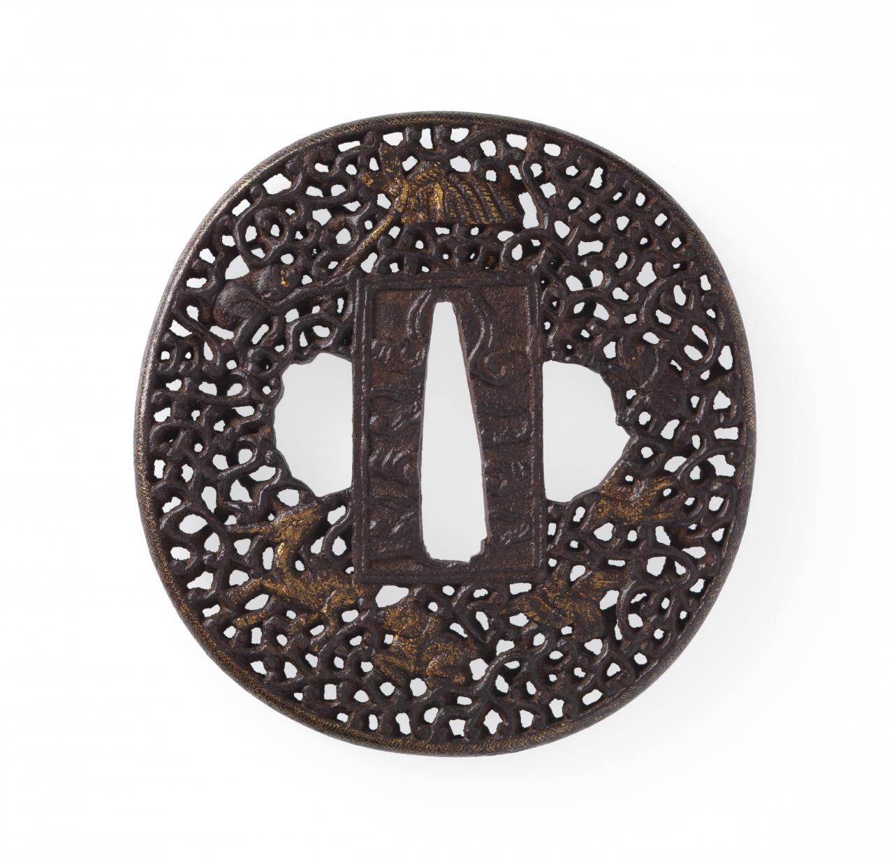 Sword guard with monkey, deer and bee's nest design
