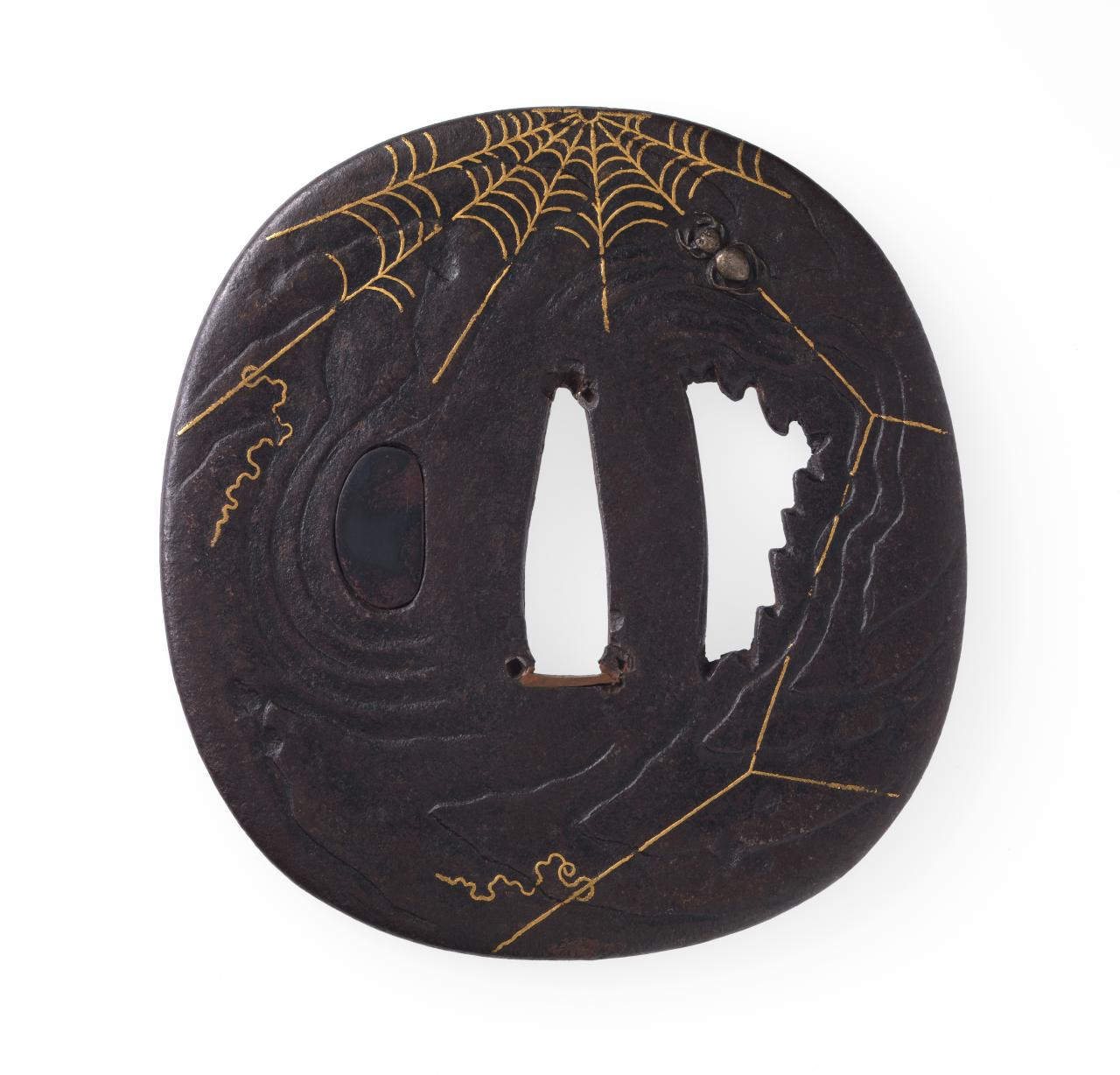 Sword guard with spider and cobweb design