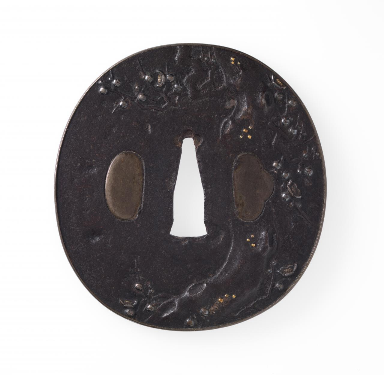 Sword guard with ancient plum tree design