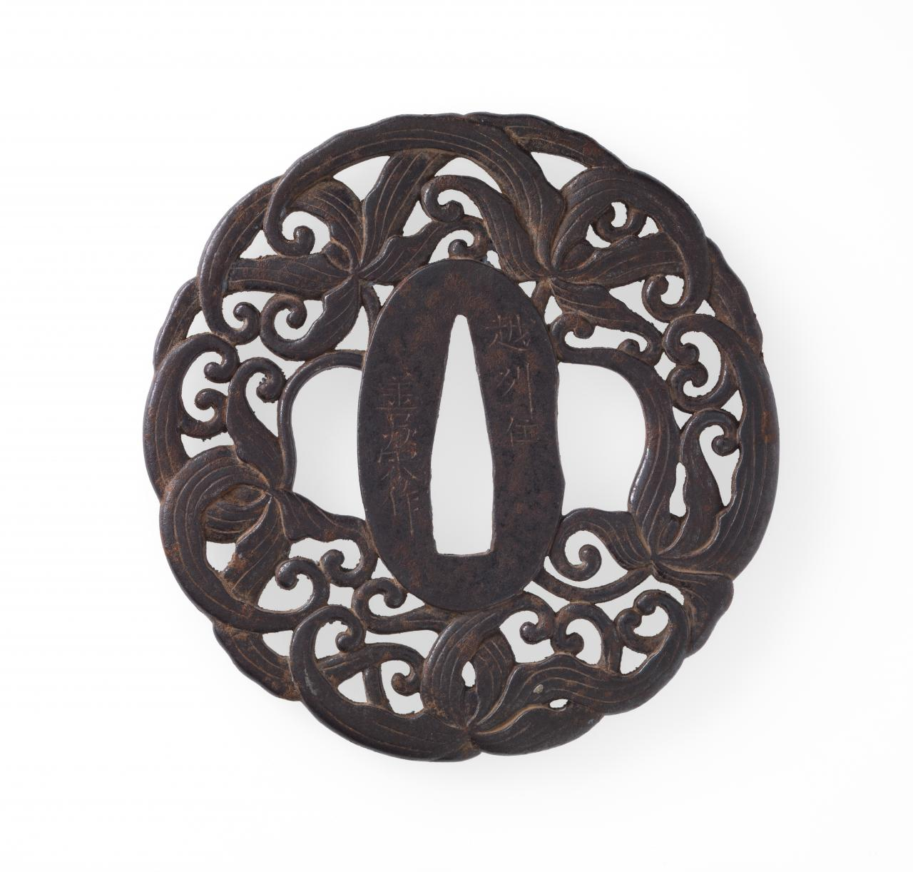 Sword guard with lily design