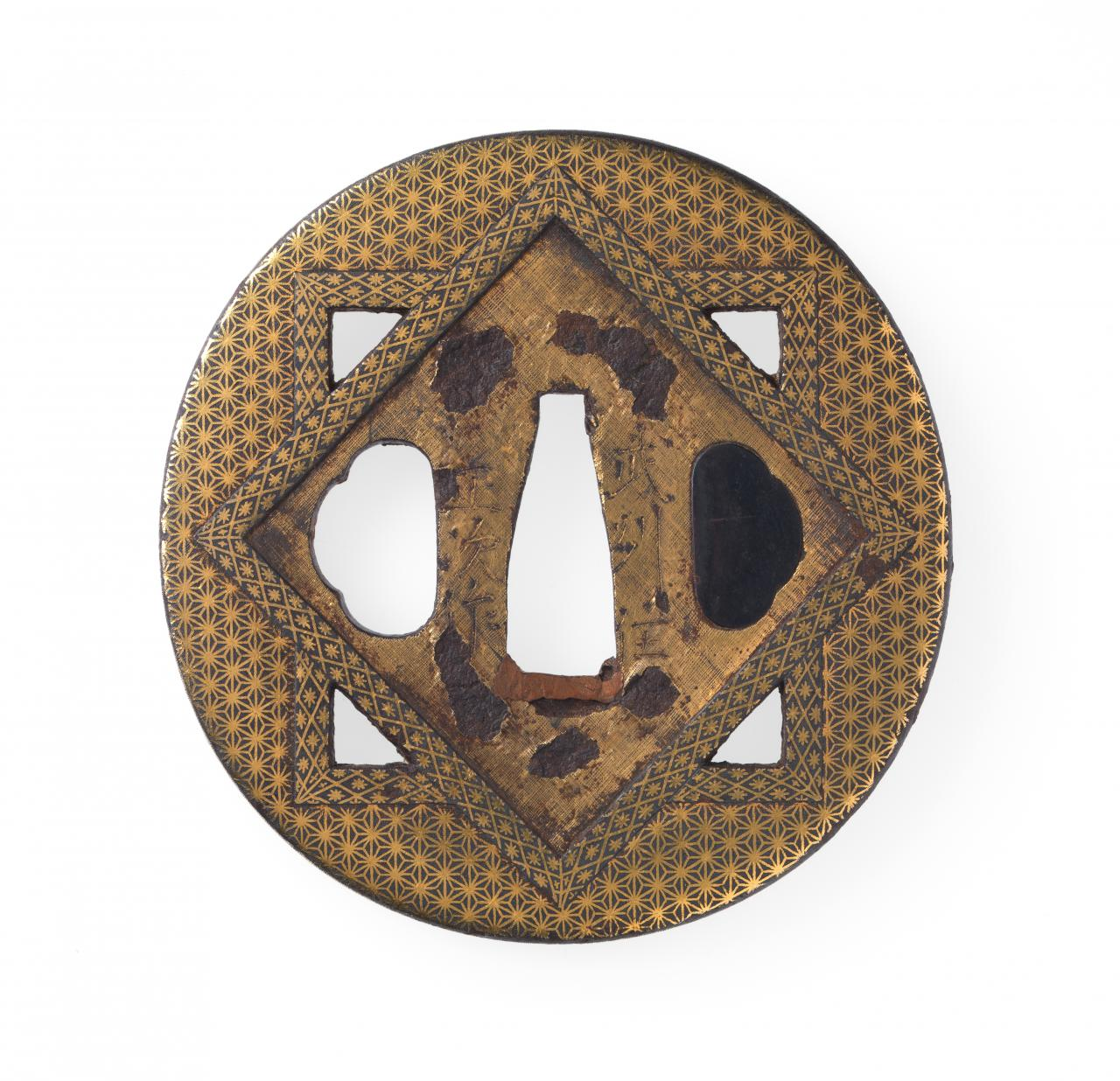 Sword guard with hemp leaf motif and interlocking square design