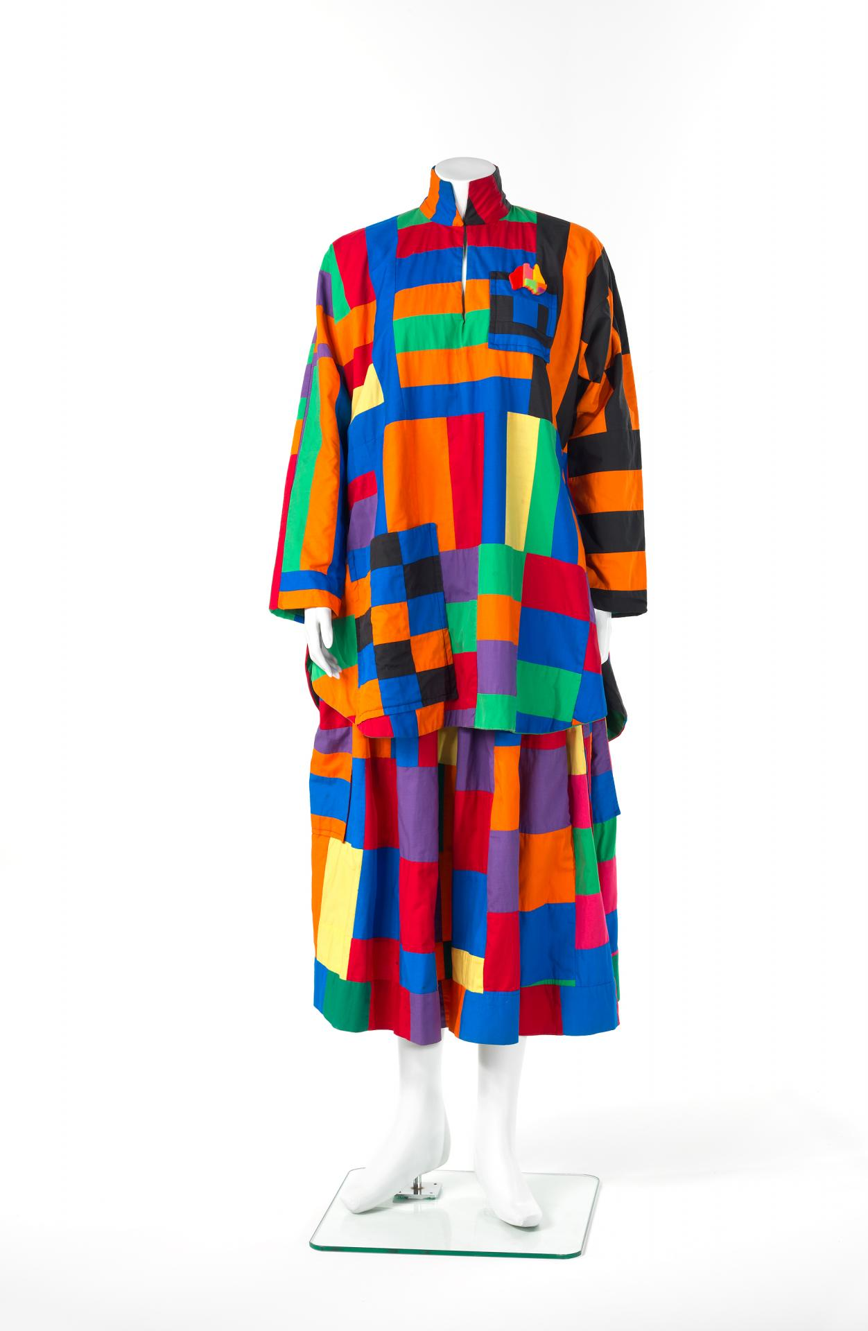 Abstract patchwork outfit