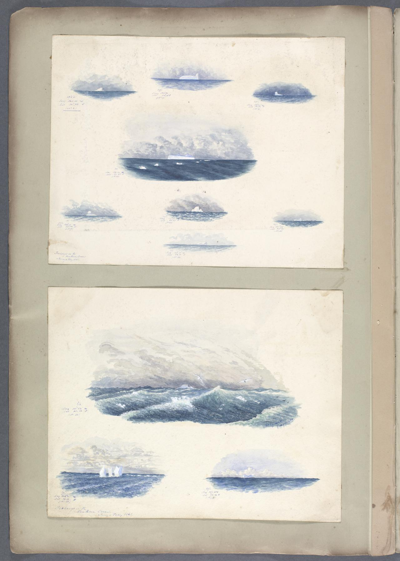 Icebergs in the Southern Ocean, January and February 1861