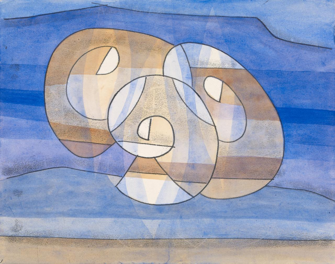 Untitled (Three tan ovoid forms over blue)