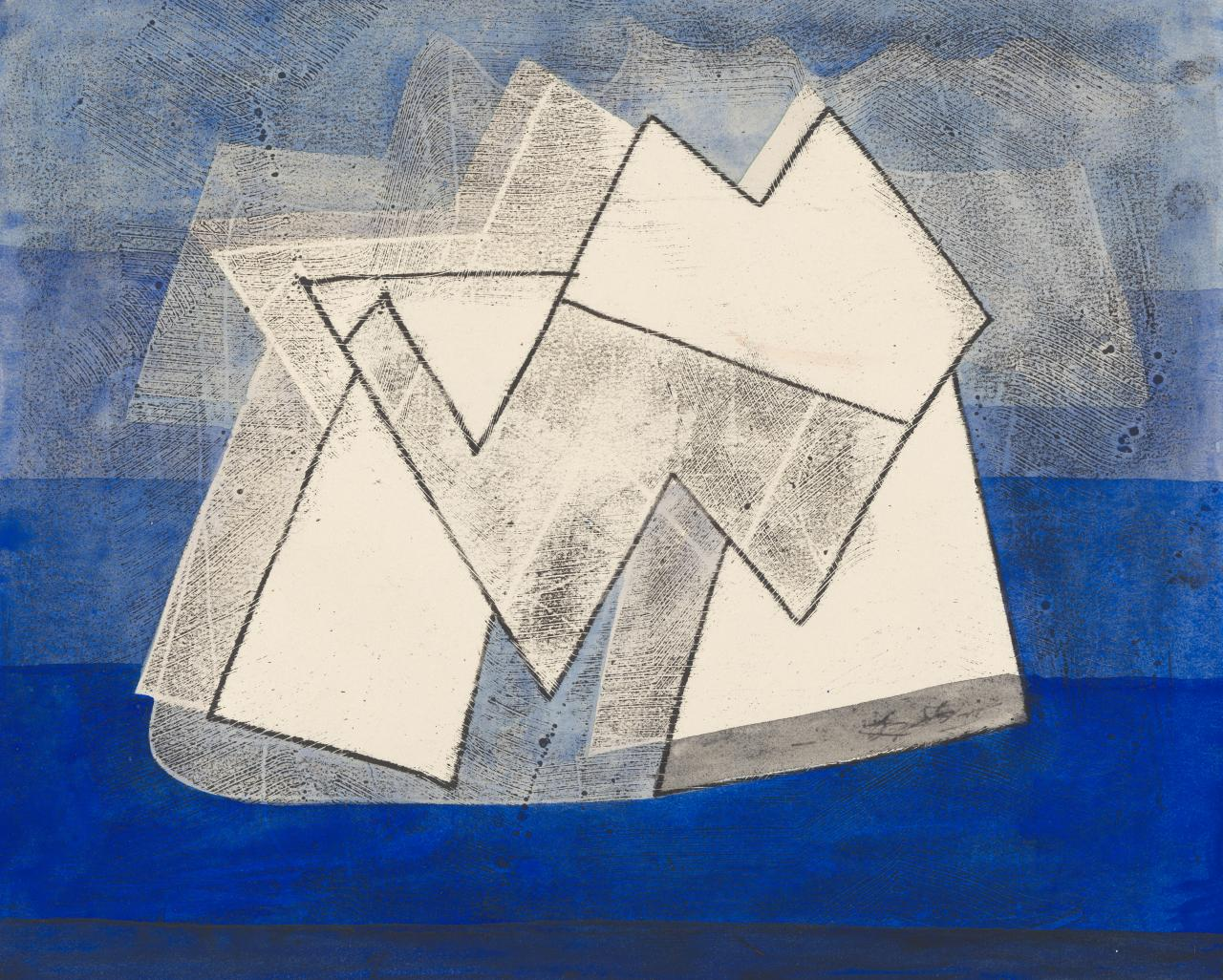Untitled (White peaked motifs on blue ground)