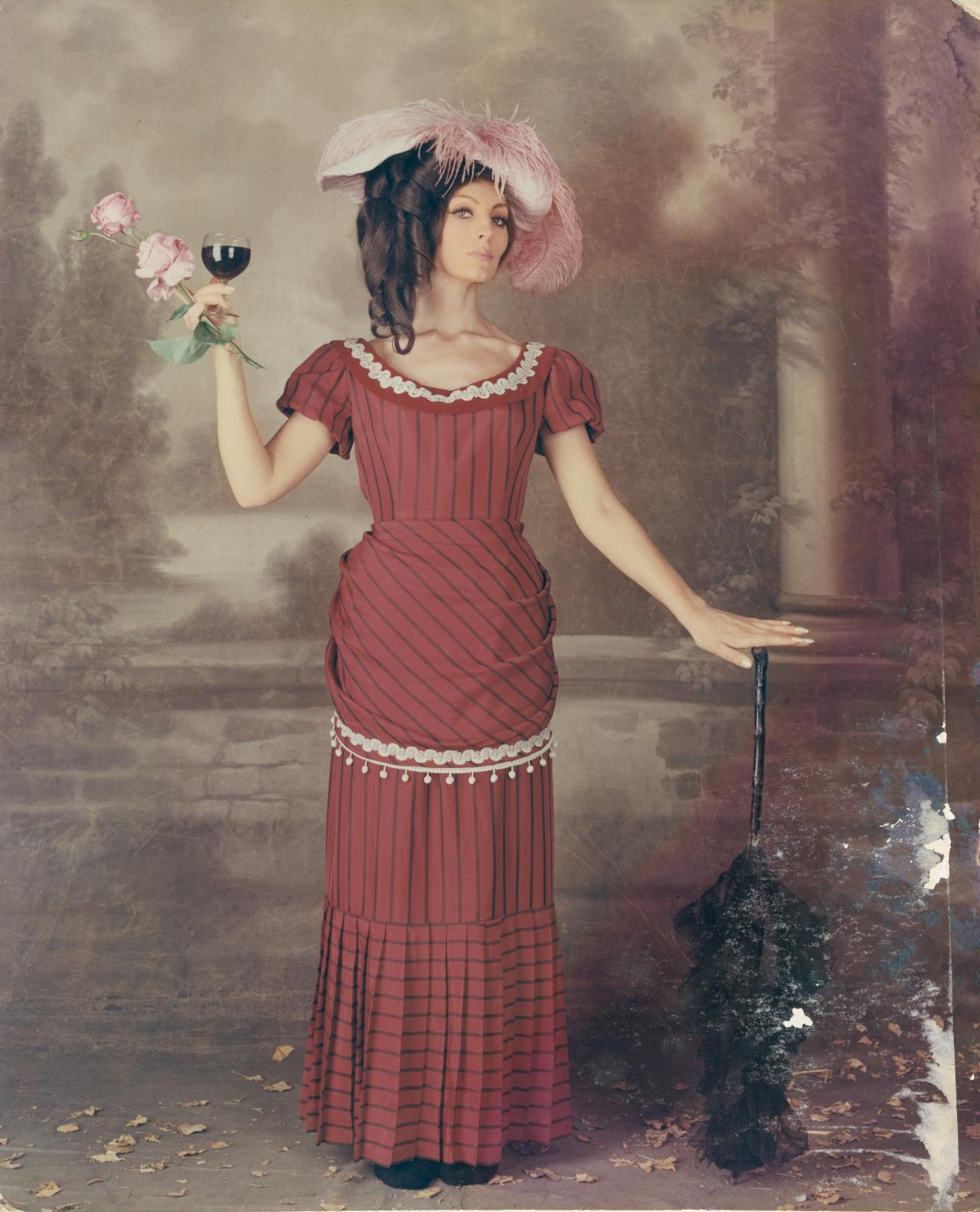 No title (Fashion illustration. Model in red striped Edwardian costume)
