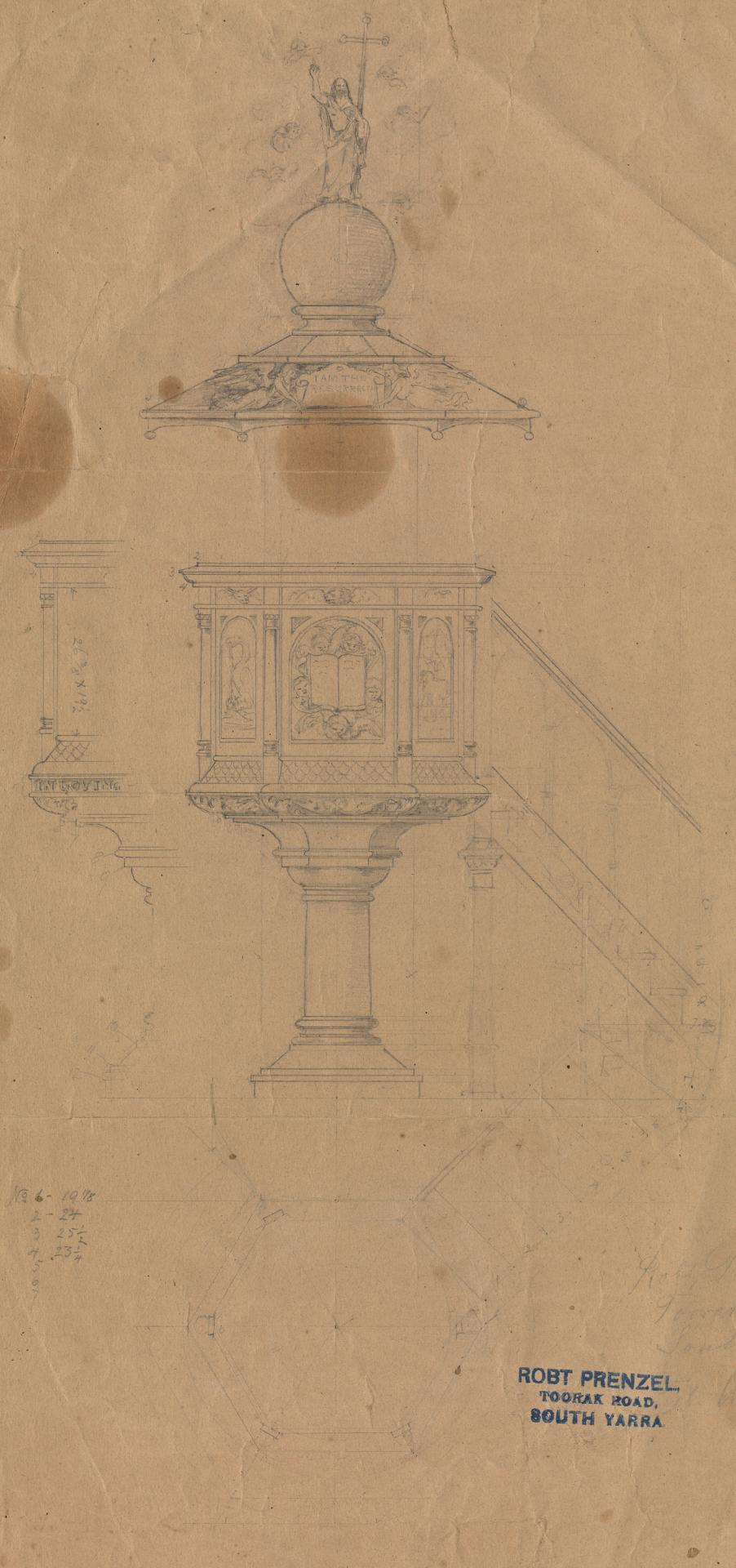 Design for the Stromayer pulpit, Our Lady of Victories Church, Camberwell