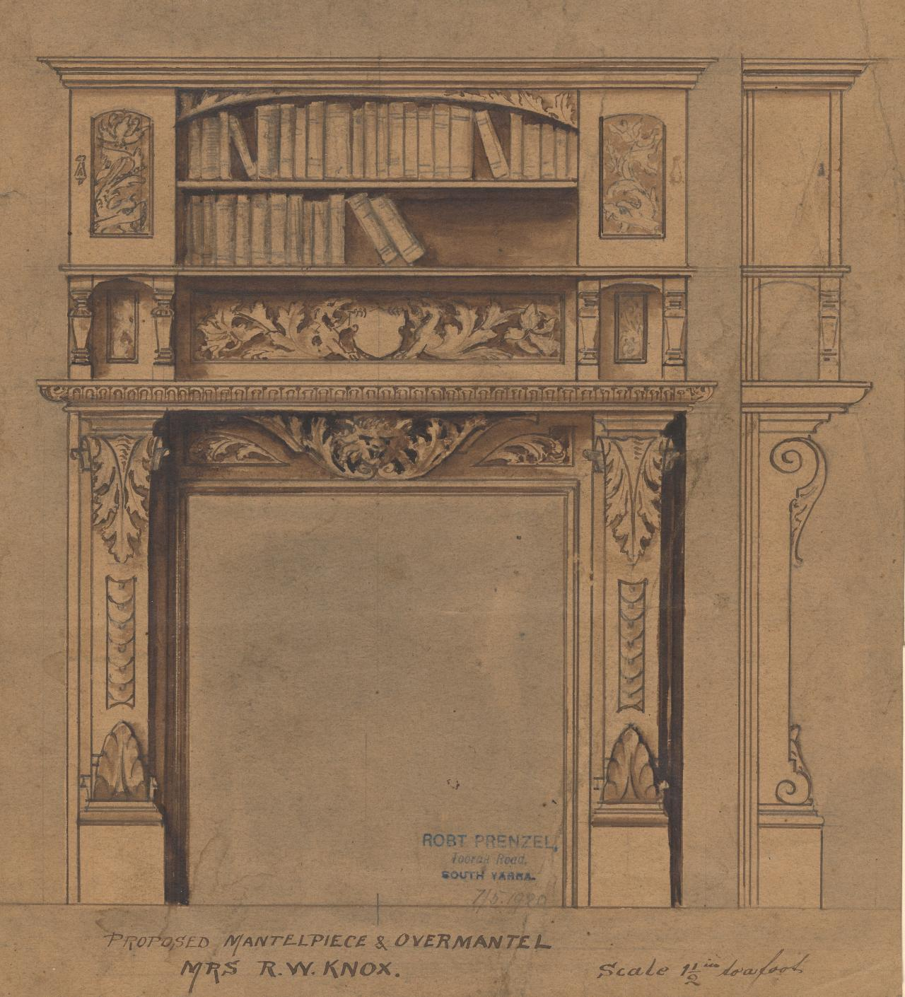 Proposed mantelpiece and overmantel for Mrs R. W. Knox